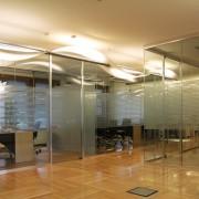 Decorazione uffici Banca Santo Stefano in adesivo sabbiato